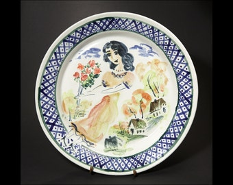 Majolica Ceramic Plate - Woman with Flowers in village -  Handmade and Hand Painted by Boris Vitlin