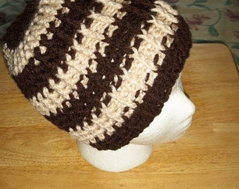 Lady's Warm and Cushy Hat Brown and white Stripe