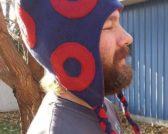 Cozy Fishman Donut Style Fleece Earflap Hat with Red O's and Red Fleece Lining