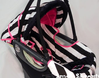 Large Black and White Stripes Hot Pink Infant Car Seat Cover 5 piece set