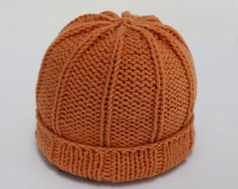 Handknit Cotton Blend Baby Hat