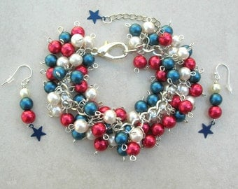 Patriotic Red*White*Blue Bauble Bracelet Set - Glass Pearls, Great for Patriot Holidays - Flag Day, July 4th, Memorial Day, by SandraDesigns