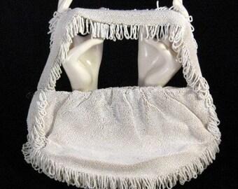 Antique Vintage White Koret Tresor Beaded Handbag or Purse, 1920s Flapper Evening Bag, Antique Ladies Womens Handbag, Glass Beads Handmade