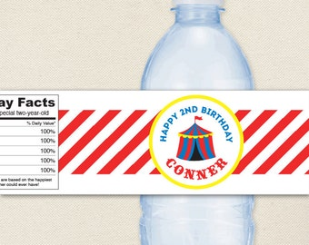 Carnival or Circus Party - 100% waterproof personalized water bottle labels