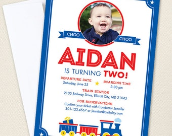 Train Party Photo Invitations - Professionally printed *or* DIY printable