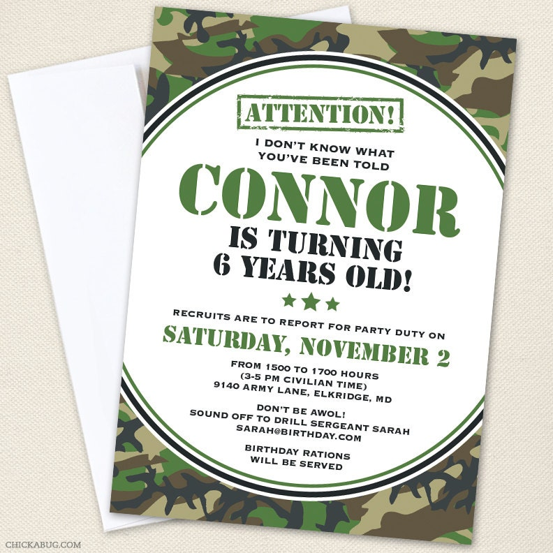 Free Army Birthday Party Invitation Template orderecigsjuiceinfo