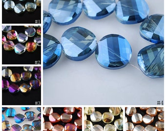 20pcs 12X12mm Exquisite Facted Crystal Glass Charms Loose Spacer Beads Jewelry Making Crafts Findings --- 8 colors YX001