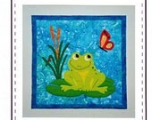 Appliqued Frog, Butterfly, and Lily Pad Quilt Sewing Pattern