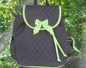 Personalized monogrammed quilted backpack diaper bag