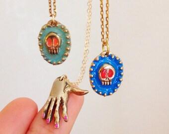 Colorful Skull Pendant.  Ball Beaded Bronze Necklace.  Dia De Los Muertos.