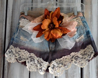 5 Festival Boho Cut off shorts, Ombre Country chic, embellished, Boho shabby cheeky jean shorts  Romantic gypsy cowgirl, true rebel clothing