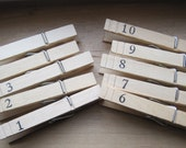 rustic numbered wood clothes pins 1-10 weddings gifts photo hangers