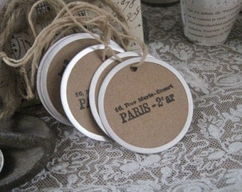 NEW french market paris round tags set of 5