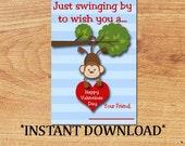 INSTANT DOWNLOAD - Blank Valentine - Monkey - Mini Valentine