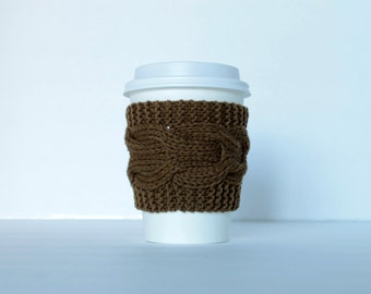 Coffee Sleeve, Knit Cup Cozy, Cable Knit Tea Sleeve, Camo green, Eco Friendly Reusable Coffee Cup Sleeve