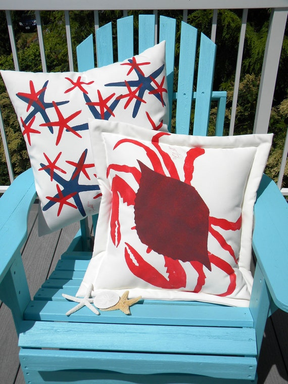 """Outdoor pillow RED HOT blue CRAB 20"""" cooked gulf crustacean claws pinch coastal bouillabaise seafood seashore Crabby Chris Original"""