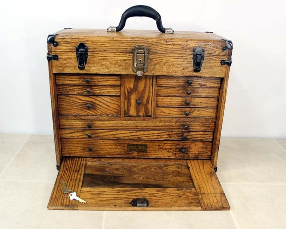 Vintage Oak Machinist Tool Chest Box / Industrial Decor /