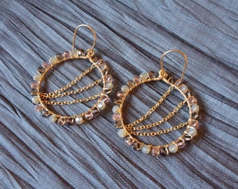 Beaded Gold Chain Earrings