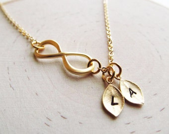 Personalized Infinity Necklace, Initial Necklace, Mom Jewelry, Mothers Jewelry, Couples Necklace, Eternity Necklace, Gold Infinity Necklace