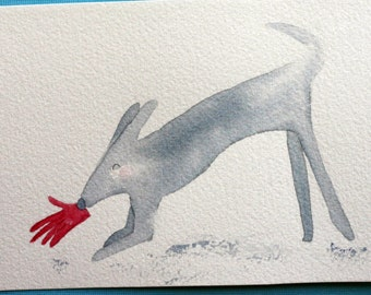 Glover, dog with glove, red and grey, simple, children's art, nursery art, grey dog playing with glove, pale colors, mitten, whimsical