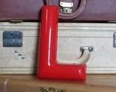 Vintage Sign Letter L Red Plastic 9 inch