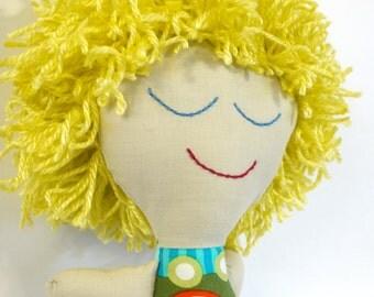 Boy Rag Doll.  Cute blond Hair.  Ready to Ship. OOAK.