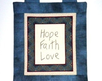 Fabric Wall Hanging - Hope Faith Love