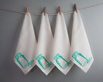 Linen Napkins - Organic Linen - Mason Jar Design - Set of Four Cloth Napkins - Hostess Gift