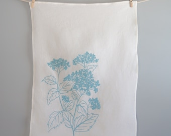 Tea Towel - Kitchen Dish Towel - Organic Linen Towel - Hydrangea - Hand Screen Printed Dish Towel
