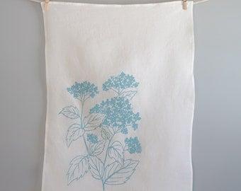 Tea Towel - Kitchen Dish Towel - Organic Linen Towel - Hydrangea - Hand Screen Printed Dish Towel