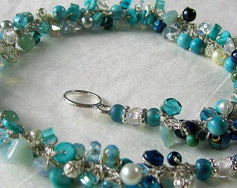 BEACH BRIDE Destination Wedding, Bridesmaids, Semi- precious, Crystals, Hand Knit, Blue Green Teal CARIBBEAN Ocean  Sea Hand Knit Necklace
