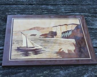 Wood Intarsia Picture Vintage