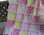 Baby girl rag quilt shabby chic chevron pink yellow nursery quilt