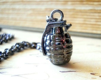 Gun Metal Grenade Necklace, Shiny Dark Gray Grenade, Dark Bomb Charm, Industrial Chic Jewelry, Heavy Metal Jewelry, Gunmetal Grenade