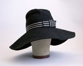 Vintage Designer Floppy Hat - Badgley Mischka Black Floppy Hat - Vintage Summer Womens Hat - Minimalist Black Hat - Festival Fashion