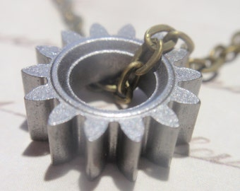 "Simple Gear Necklace Steampunk style Brass gear on 18""  chain"