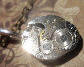 Steampunk Premium Clockwork Necklace (small Rectangle) Gears on Bronze Chain gear box necklace Clinton sp10