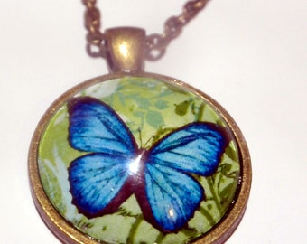 Blue Butterfly Necklace, bronze western pendant on matching bronze chain