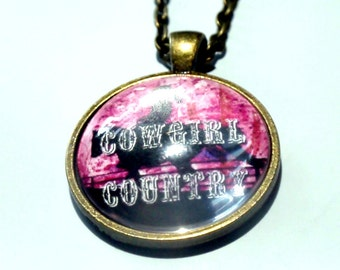 Cowgirl Southern Necklace, bronze western pendant on matching bronze chain cowgirl up southwestern