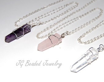 Long Crystal Necklace, Amethyst, Rose Quartz, Clear Quartz Crystal Necklace, 24 Inches