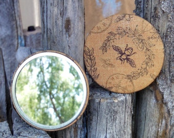 "Honey Bee Fabric Pocket Mirror - 3"" Diameter"