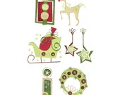 Christmas machine embroidery design. Two sizes 4 x 4 and 5 x 7, modern Christmas embroidery. Fun sled, reindeer, wreath and gift embroidery.