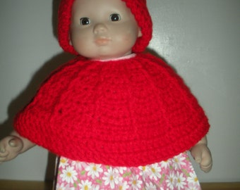 15 inch doll Poncho with hat