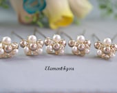 Bridal hair pins, Champagne ivory hair piece, Silver Gold Swarovski crystals clusters, Bronze wedding accessories, Formal up do, Set of 5