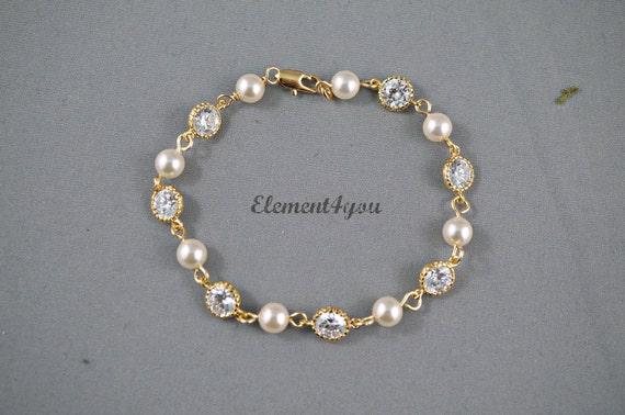 Brautschmuck armband perlen Brautschmuck Armband Brautjungfer gold Armband Perlen Zirkonia