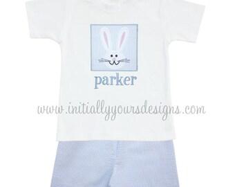 Bunny Patch Shorts Set-Personalized Monogrammed Boys Shorts Set
