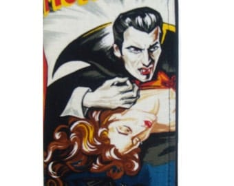 USA Handmade Woman Wallet with Dracula Monster Frankenstein Horror Movie Robert Kaufman Fabric Cotton, new