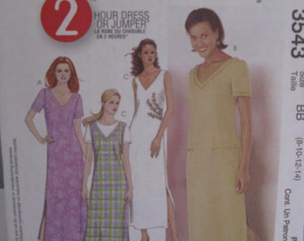 McCall's 3543 Women's 2 Hour Dress or Jumper. Size 8-10-12-14. Factory Folds.