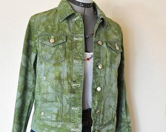 "Green Small Denim JACKET - Apple Green Dyed Upcycled Jones New York Sport Denim Cropped Trucker Jacket - Adult Womens Sz Small (38"" chest)"