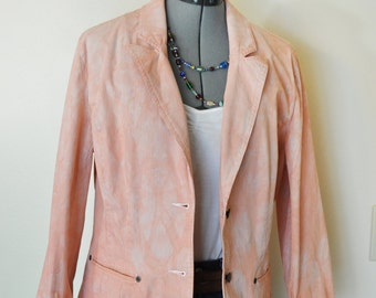 """Peach Large Cotton JACKET - Coral Salmon Hand Dyed Upcycled Sonoma Cotton Blazer Jacket - Adult Womens Large (40"""" chest)"""